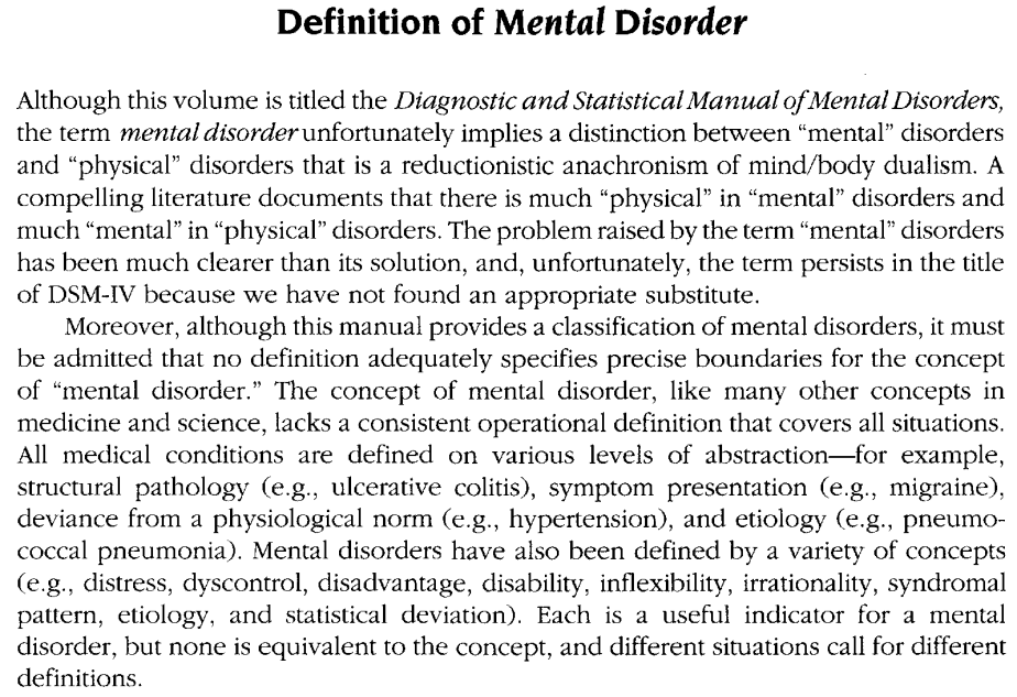 Definition of Mental Disorder - Diagnostic and Statistical Manual of Mental Disorders, Fourth Edition (DSM-IV)